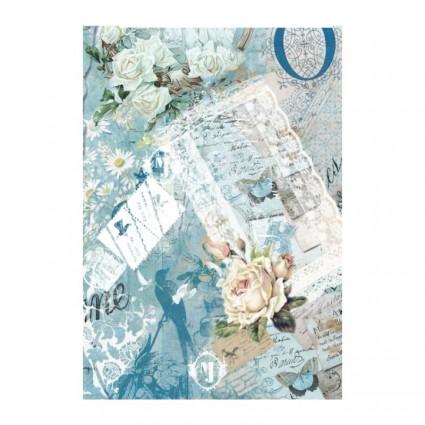 Papel de arroz A3 Cadence 319 Rosas Azules