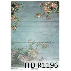 Papel Decoupage R1196 madera flores