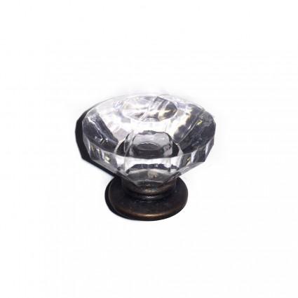 Pack de 2 Pomos cristal con bronce 2.5cm