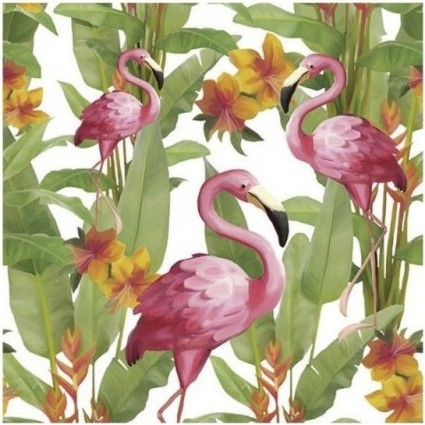 Servilleta Decoupage FLAMINGO WHITE