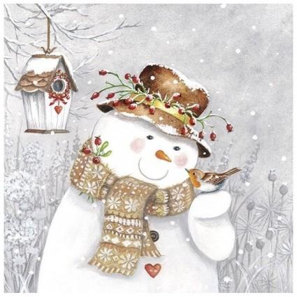 Servilleta SNOWMAN HOLDING ROBIN