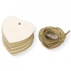 Pack 20 corazones etiqueta cartón 6x5.6 cm