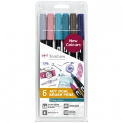 tombow set lettering 6 rotu. Colores vintage