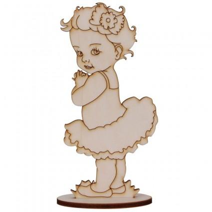 Silueta Bebe niña Tutú 22,5 cm chopo