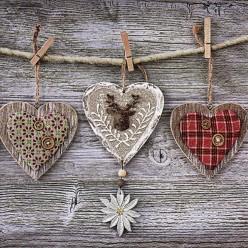 SERVILLETA 33X33CM RUSTIC HEARTS