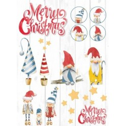 Papel Arroz 30 x 41 Navidad Gnomos