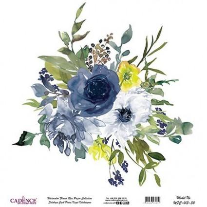 Papel Arroz Bouquet flores Azul rollo 60X60cm