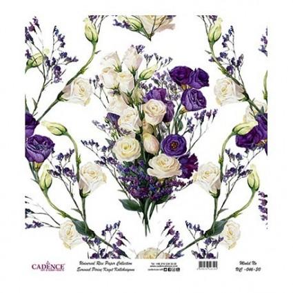 Papel Arroz Flores Lilas rollo60X60cm