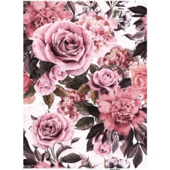 PAPEL ARROZ A3 741 COLLAGE FLORES ROSAS ANTIGUAS