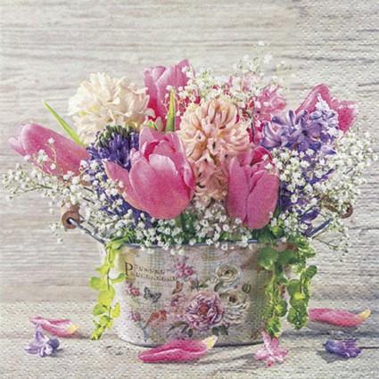 SERVILLETA PASTEL SPRING FLOWERS 33 X 33