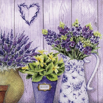 SERVILLETA 33X33CM LILAC FLOWERS WITH HEART