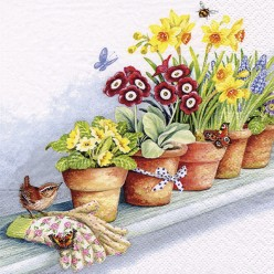 SERVILLETA 33X33CM WINDOWSILL WITH FLOWE POTS